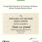 Diplôma of Higher Education (1ère année ESC Rennes)