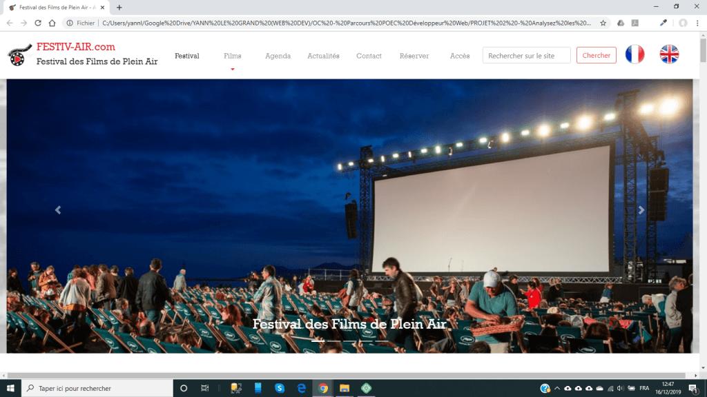 Site web fictif Festival de Films en Plein Air