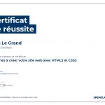 Certificat de réussite-Apprenez à créer votre site web avec HTML5 et CSS3