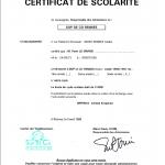 Certificat de scolarité 3ème année ESC Rennes à Imperial College