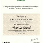 Diplôme Bachelor of Arts (2ème année ESC Rennes)