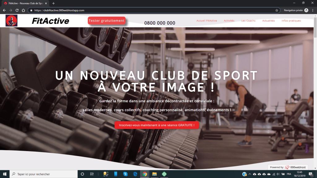 Site fictif Club de sport FitActive
