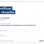 Certificat de réussite-Créez un site moderne et professionnel avec WordPress 5