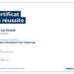 Certificat de réussite-Créez des animations CSS modernes