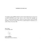 EUROVIEW-Certificat de Travail
